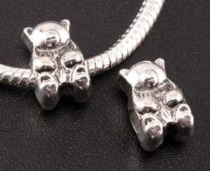 Tibetan Silver Bear Spacer Beads Fit European Charm Bracelet ◆f704