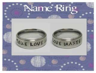 New Stainless Steel Comfort Fit Personalized Engraved Purity Name Ring