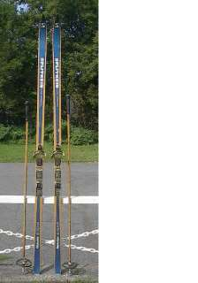 Hickory Wooden 74 Cross Country 190 cm Skis + Poles