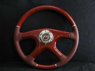 NEW 15 MAROON LEATHER WOOD GRAIN STEERING WHEEL