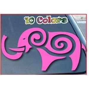 Elephant Tribal Car Window Stickers 4 Wide Pink