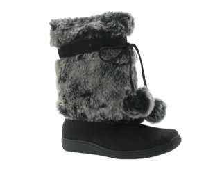 NEW WOMENS UNIONBAY FAUX FUR POM BOOTS WINTER BLACK   FROSTY