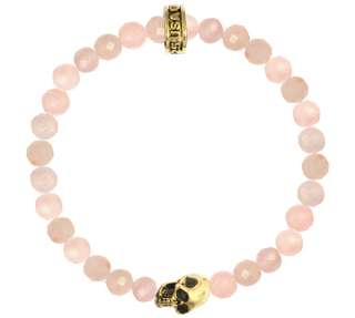 King QUEEN Baby Studio 6MM Rose Quartz bead bracelet 18K