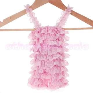 Girl Lace Posh Braces Ruffle Romper Teddy Jumpsuit Pink S M L