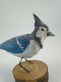 Vintage Bluejay Blue Jay Bird Decoy Wood Carving Model Wisconsin Folk