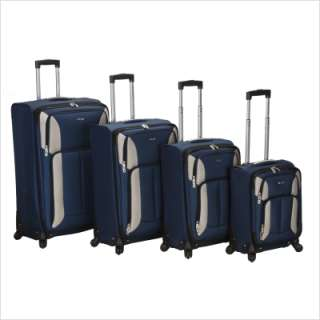 Rockland 4 Piece Impact Spinner Luggage Set in Black 675478155011
