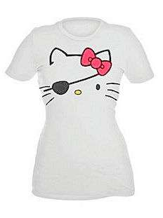 HELLO KITTY~ WHITE WINK PIRATE FACE RED BOW SHIRT