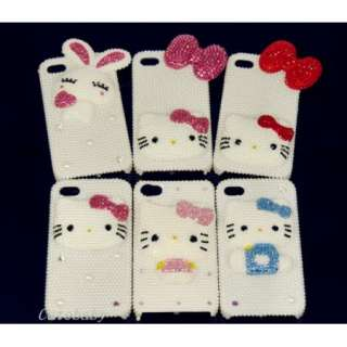 Hello kitty Pearl Crystal Bling Hard Case for iPhone 4 4G s 4S pink