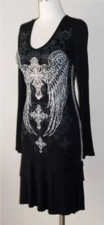 CRYSTAL CROSS ANGEL WINGS TATTOO BLACK RUFFLE DRESS TUNIC & ED HARDY