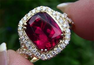 Certified Unheated 6.34 Carat Agodi Rubellite Tourmaline & Diamond