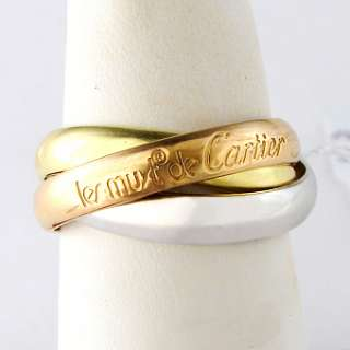 Cartier 18k Tri Color Gold Trinity Ladies Ring
