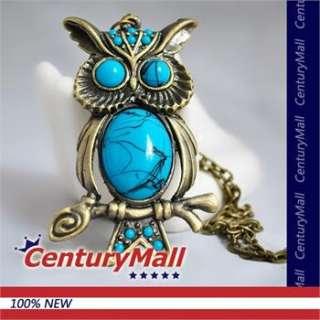 New Antique Bronze Retro Charm Blue Big Eye Owl Pendant Long Chain