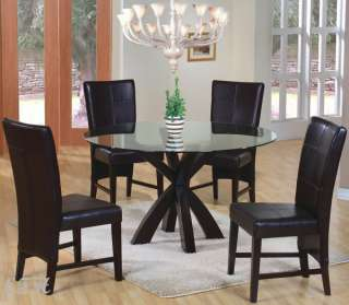 5PC BAKER GLASS TOP CAPPUCCINO WOOD DINING TABLE SET