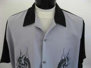 NEW Retro REBEL Dragon Skull Biker Bowling Shirt 4X 4XL