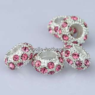 WHOLESALE CRYSTAL SILVER SPACER EUROPEAN BIG HOLE CHARM LOOSE BEADS