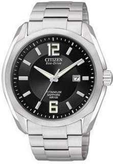 Citizen Eco Drive Mens Titanium Black Dial   Bracelet Date Watch