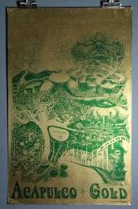 ACAPULCO GOLD, Vintage Marijuana Pot Weed Poster 1967