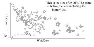 DIY 150*75cm Decorative Wall Paper&Art Sticker Butterfly flower ML01