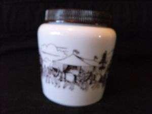 Colonial Canada Brown & White Milk Glass Mustard Jar