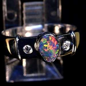 NATURAL AUSTRALIAN BLACK OPAL 18k WHITE GOLD & 2 DIAMOND RING 10406