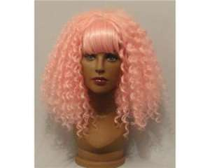 LONG PINK CANDY CURLY PERMED AFRO STYLE 80S WIG WITH FRINGE