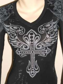 CROSS ANGEL WINGS TATTOO SLIT SLASH BLACK HOODIE DRESS M & ED HARDY