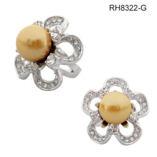 White Gold Plated 13mm Faux Pearl Flower Cocktail Ring