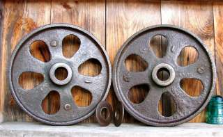 Antique Cast Iron Wheels 12 Di Cart Dolly Industrial Shop Cargo