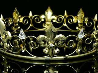 Gold Full Kings Crown Wedding Party Crystal Tiara 9436