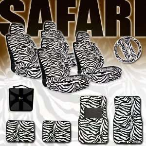 Zebra Low Back Bucket Car Van SUV Seat Covers Steering Wheel Covers