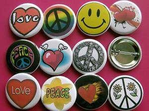 BIG LOT 1.25 PEACE & LOVE BUTTON badge pins 20