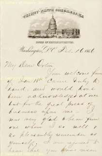 JAMES A. GARFIELD   AUTOGRAPH LETTER SIGNED 02/16/1866