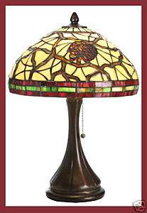PINE CONE Tiffany Style Stained Glass 18 Table Lamp