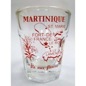 Martinique Vintage Map Outline Shot Glass: Kitchen & Dining