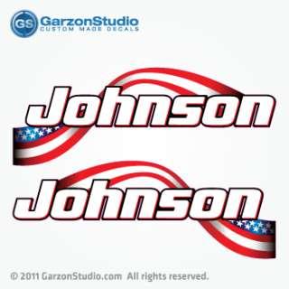 Johnson Outboard ETEC American flag decal set 14 B