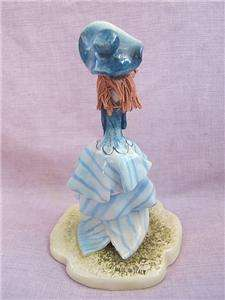 ZAMPIVA Italy hand painted modelled FIGURINE blue lady. SIGNED