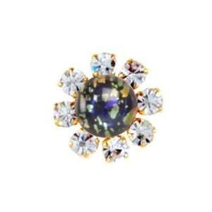 Black Opal Crystal Button 7/8 Gold By e Package Arts