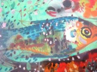 Carpenter Signed Abstract Fish Painting Mixed Media Art