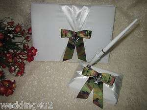 WEDDING BRIDAL DEER HUNTER HUNTING GUEST BOOK AND PEN SET CAMO BOW
