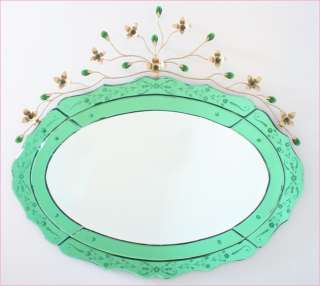 Green Venetian Glass Etched Mirror~Crystal & Gold Tole Metal Flower