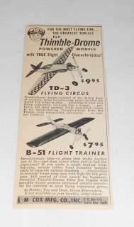 1956 Cox Thimble Drome ad~ FLYING CIRCUS,FLIGHT TRAINER