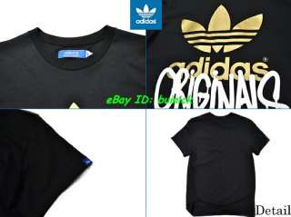 ADIDAS GRAPHIC TREFOIL CITY TEE SHIRT Black Gold logo M