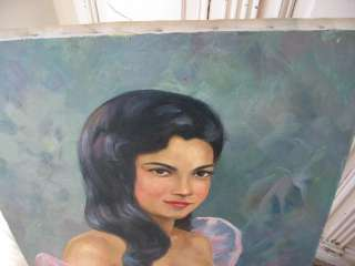OLD Vintage PORTRAIT OIL PAINTING Woman PINK DRESS Canvas Signed WOW