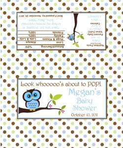 50 Personalized Baby Shower Boy Owl Popcorn Wrappers