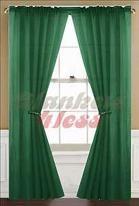 Hunter Green Solid 2 Piece Voile Sheer Window Curtain Panels   Brand