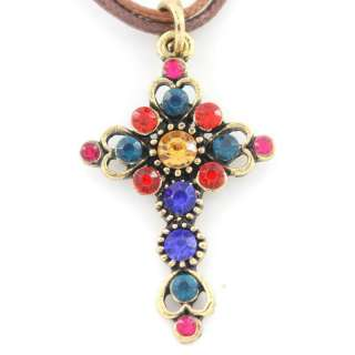 Vintage Retro Antique Gold tone Crystal Cross Necklace