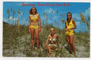 ISLE NC Cute Young Girls Bikinis Sea Oats Sand Dunes postcard