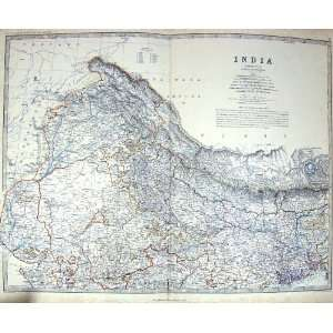 Johnston Antique Map C1860 India Calcutta Ceylon Bay
