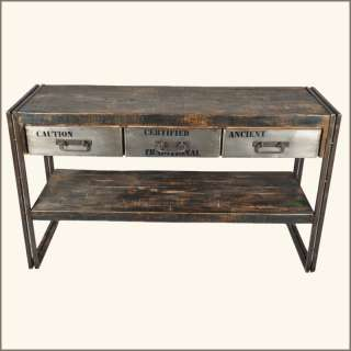 Drawer Reclaimed Wood Iron Hall Entry Way Console Table NEW