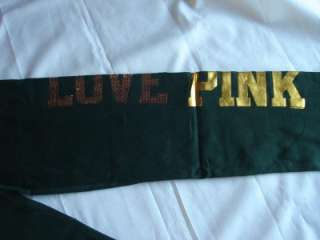 NEW VICTORIAS SECRET PINK GREEN BAY PACKERS BLING SWEATPANTS Sz S NFL